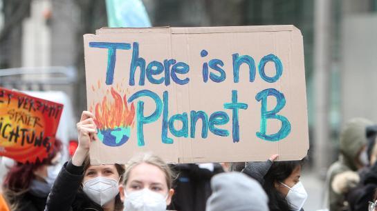"""Frau hält bei Demonstration ein Plakat hoch auf dem steht: """"There is no Planet B"""""""