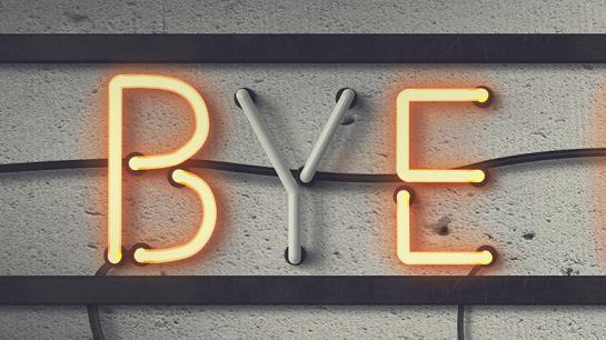 """Leuchtstoffröhren bilden den Schriftzug """"Bye Bye"""""""